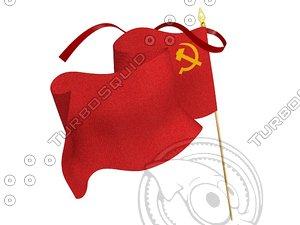 3d soviet flag standard communism model