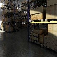 Warehouse with shelves
