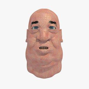 3d fat old man head