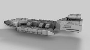 scifi destroyer 3d c4d