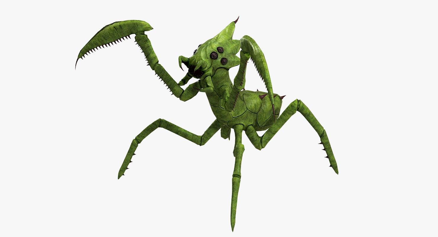 3d model mantis low-poly monster