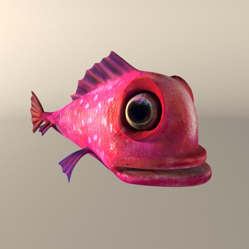 3d model of pink fish