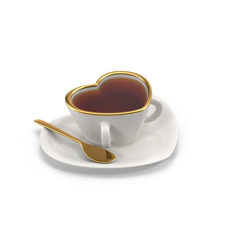 3dsmax cup heart tea