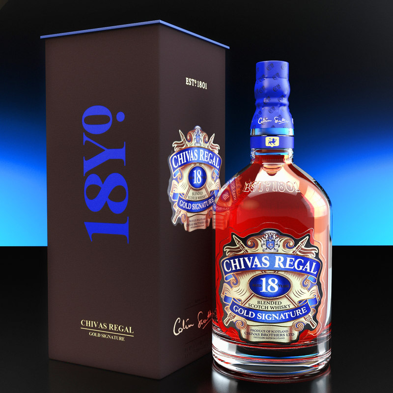 chivas regal 18 packaging 3d max