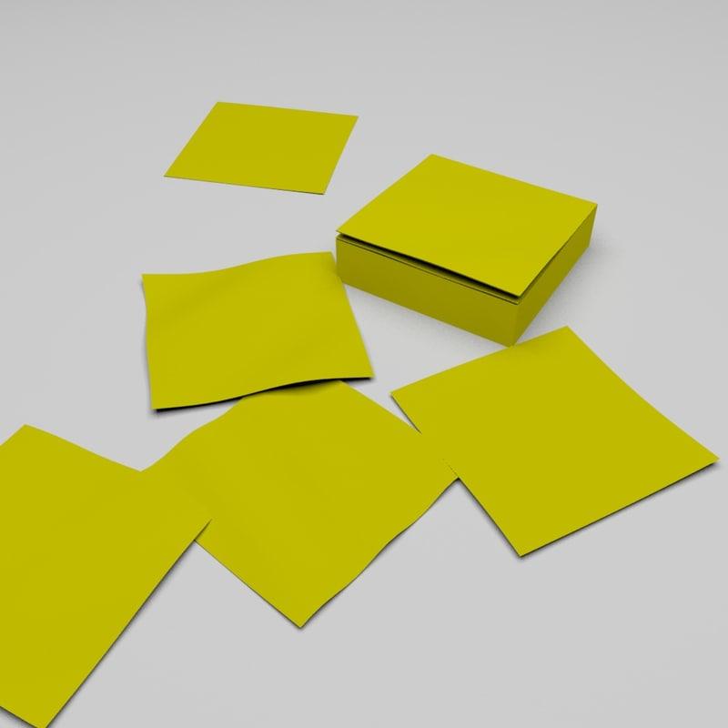 3d post-it notepad model