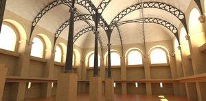 3d model sainte-genevive library henri labrouste