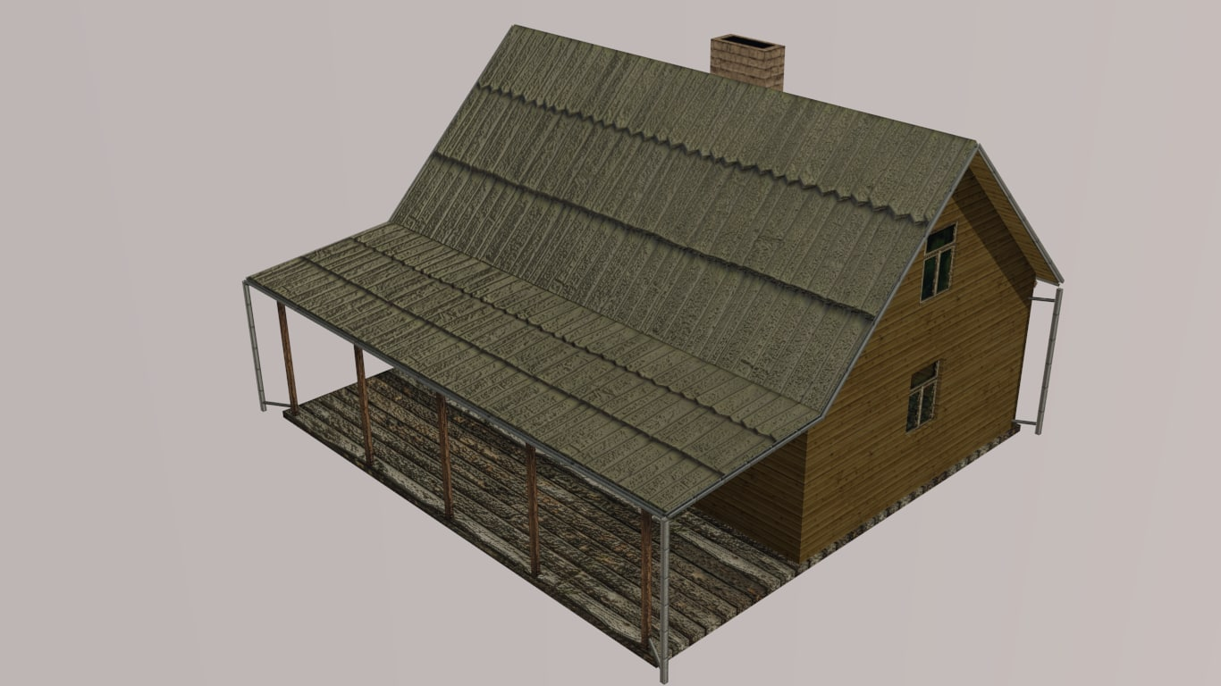 house wooden wood 3d obj