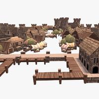 3d model of medieval town building set