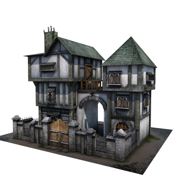 3d model medieval house buildings