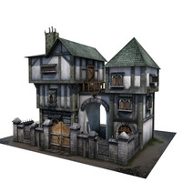 3d model medieval house buildings