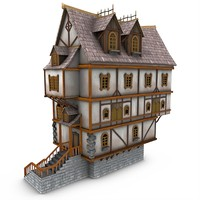 medieval tavern buildings obj