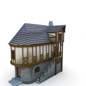 medieval village apothecary buildings fbx
