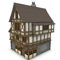 3d model medieval tavern buildings