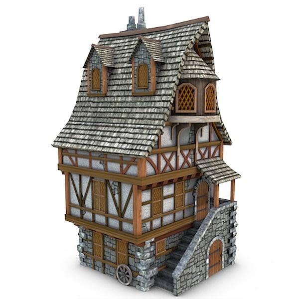 3d obj medieval townhouse buildings town