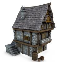 medieval merchant s shop obj