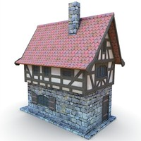 medieval townhouse buildings town 3d model