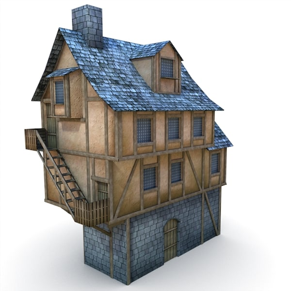 medieval barbican buildings 3d fbx