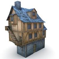medieval barbican buildings 3d fbx