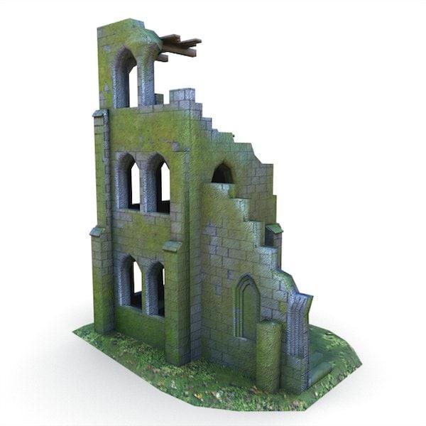 x medieval ruins buildings