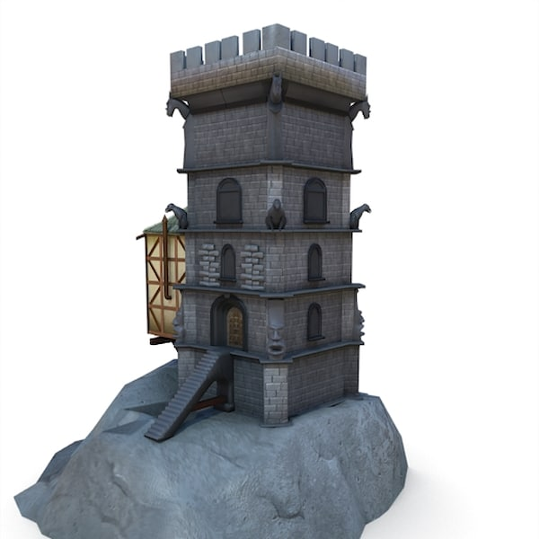3d medieval wizard tower buildings model