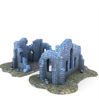 3d medieval ruined church buildings model