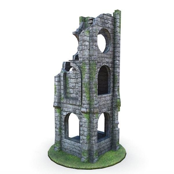 3d model medieval ruins buildings