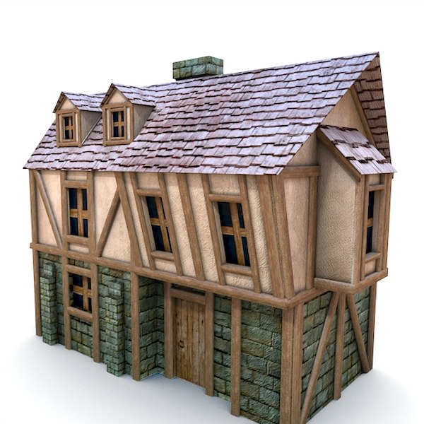 3d medieval pumpkin cottage buildings model