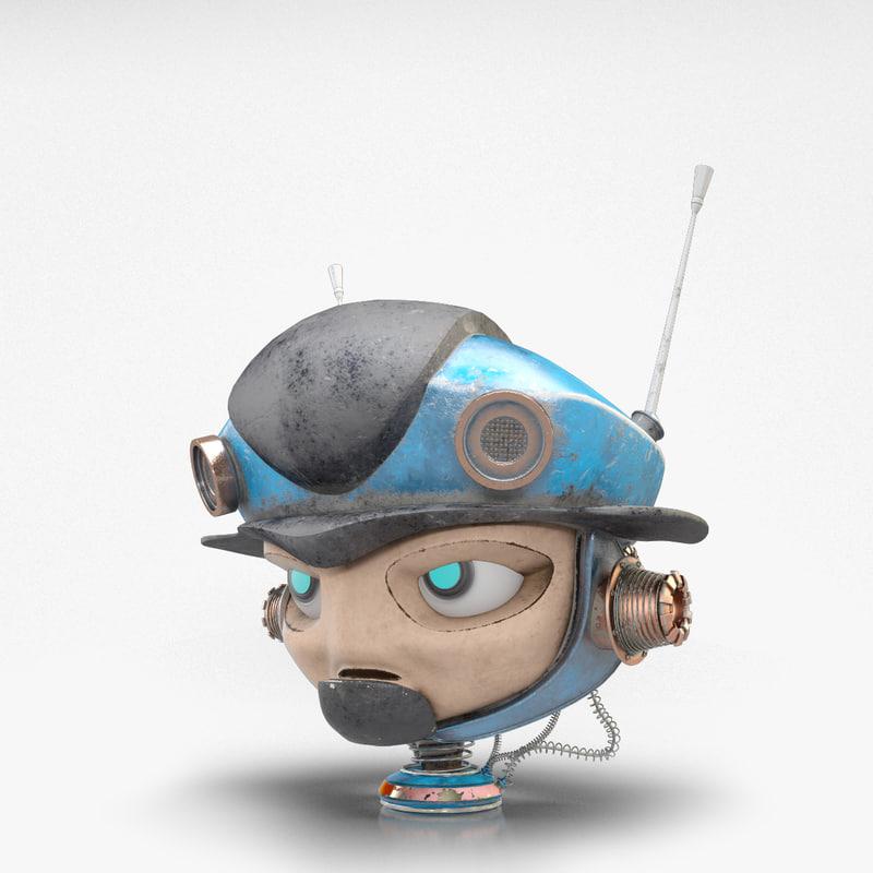 3d mini robot head