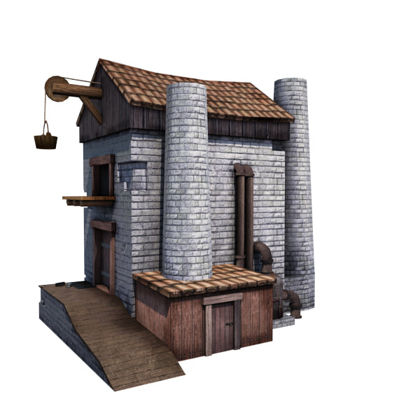 medieval factory buildings 3d model