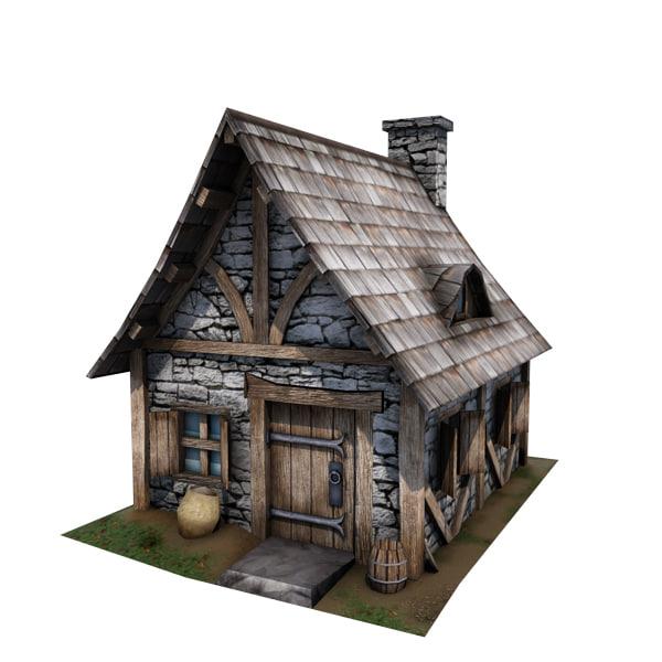 3d medieval cottage buildings model