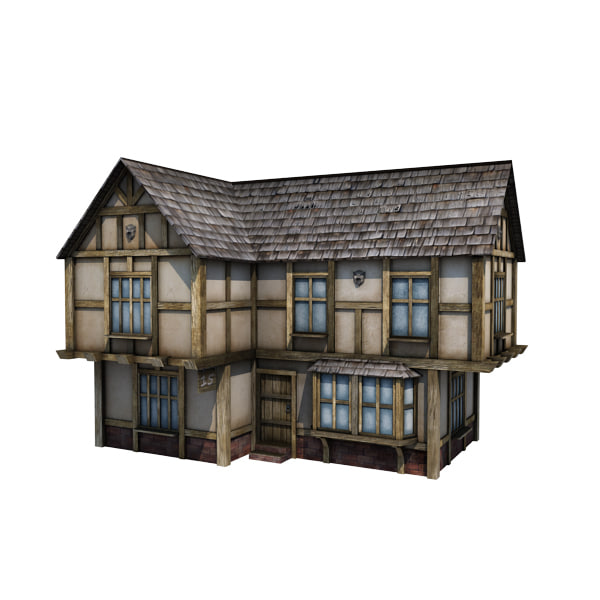 3d medieval house buildings town model