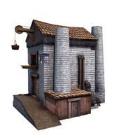 medieval factory buildings 3d model