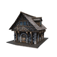 3d model medieval townhouse buildings town