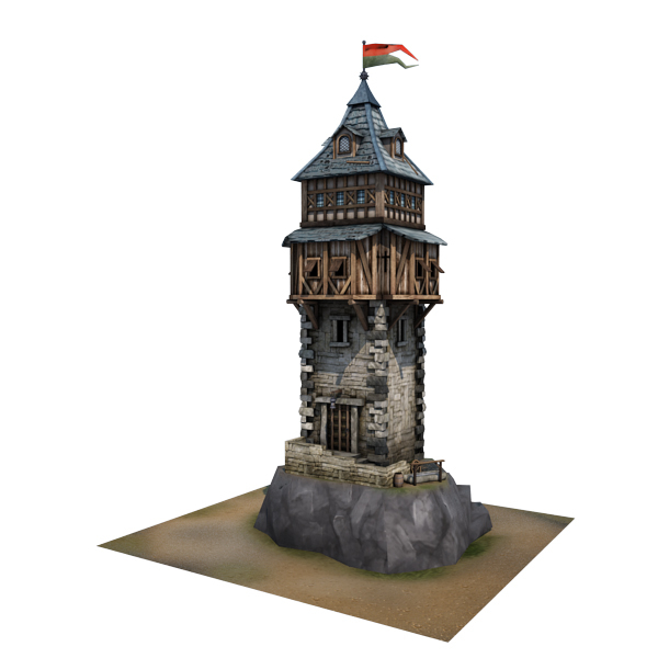 3d medieval defence tower buildings