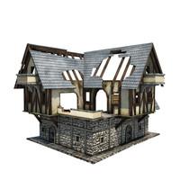 3d model medieval ruined coaching inn