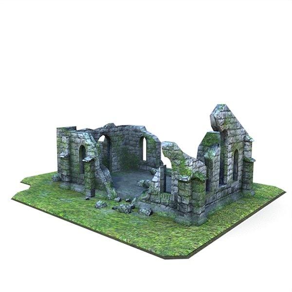 3d model medieval ruined church buildings