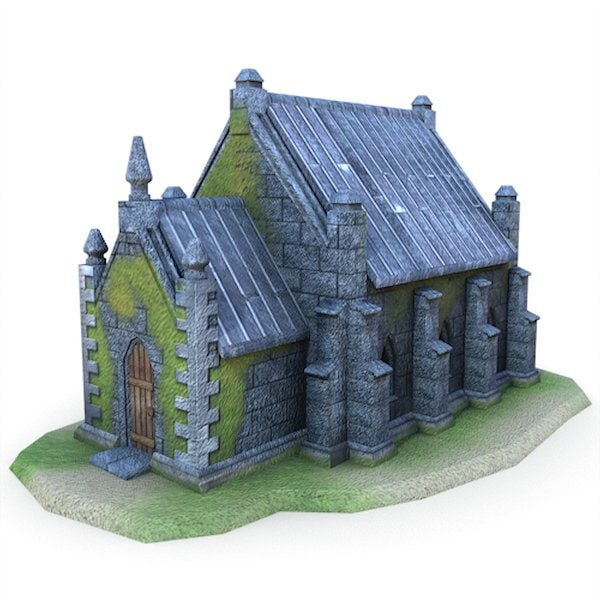 3ds max medieval little church buildings