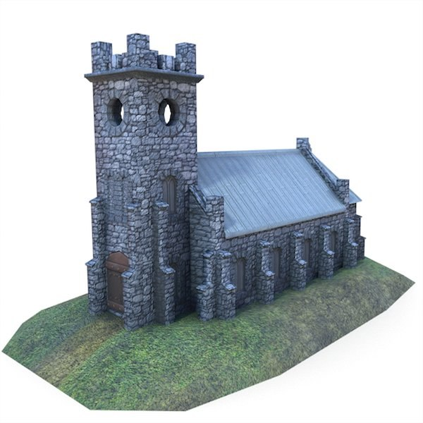 medieval church buildings 3d fbx
