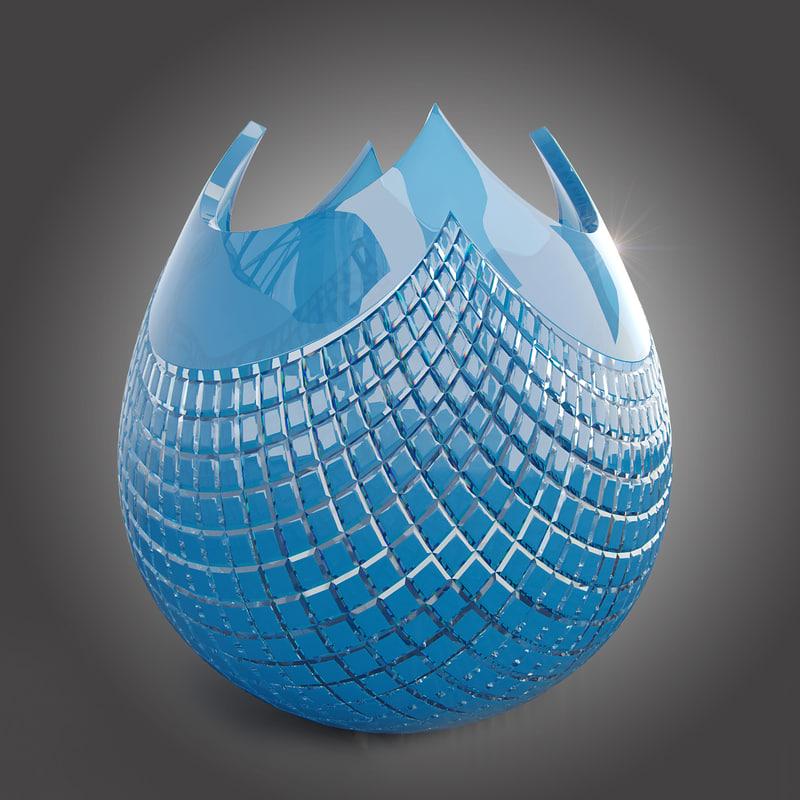 3d model vase quadrus crystal