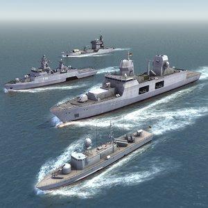 german navy ship set 3d 3ds