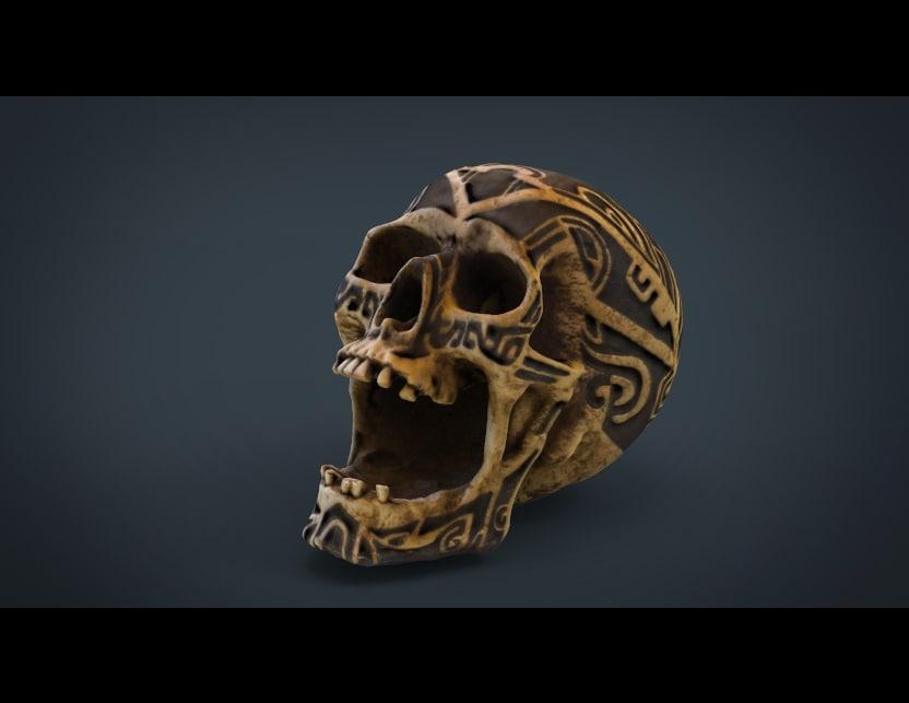 3d model skull tribal human