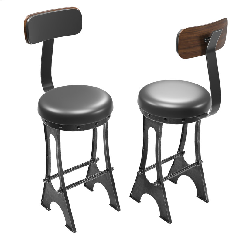upholstered frame bar chair 3d model