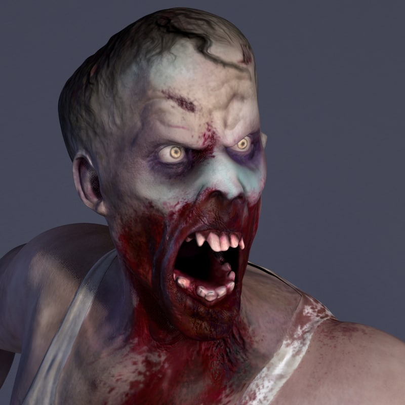 3d model zombie male rigged