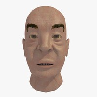 Elderly Asian Man Head
