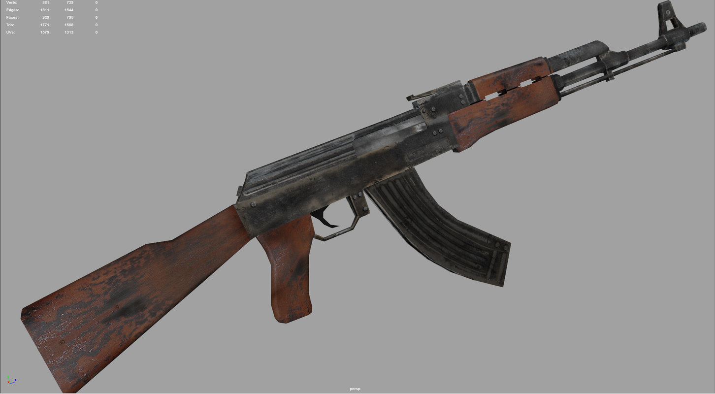 3d model ak47 rifle modern