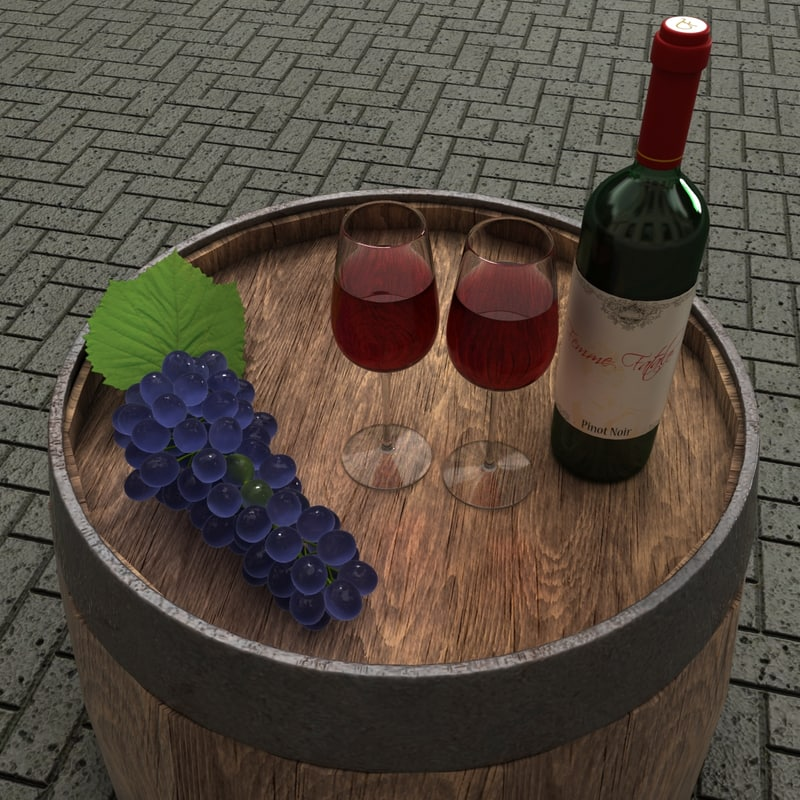 3ds wine bottle glass grapes