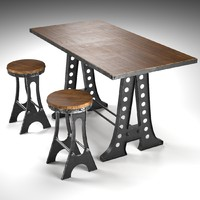 A Frame Dining Table and Stools