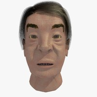 realistically asian elderly male head 3d c4d