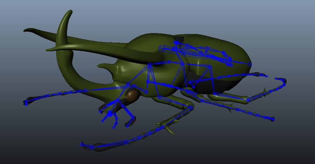 3d atlas beetle rigged wings model