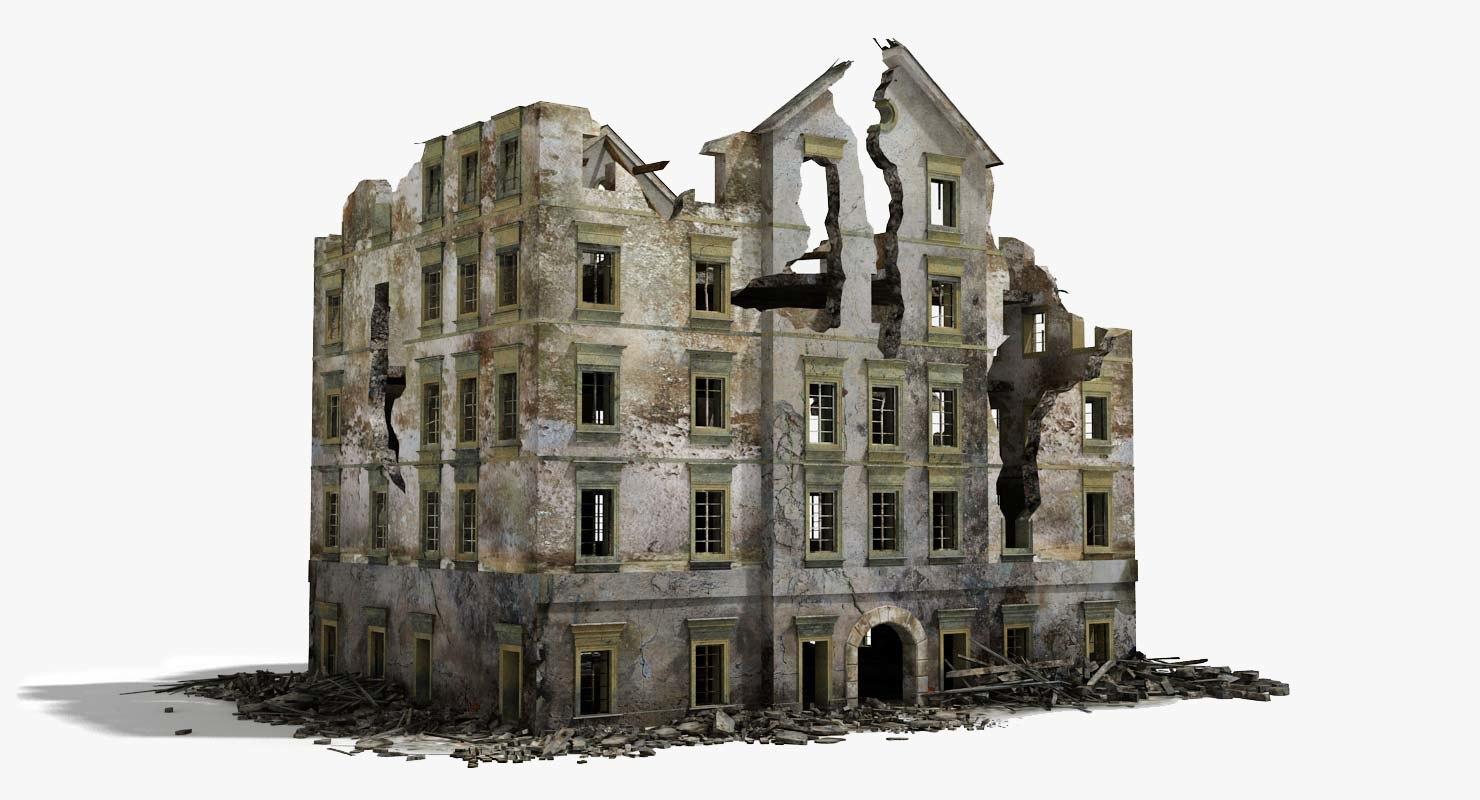destroyed ruined building war 2 3d model